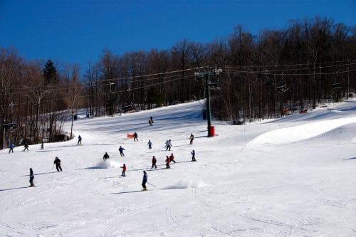Winter downhill skiing