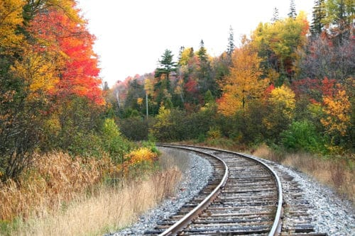 Fall Foliage along Train Tracks