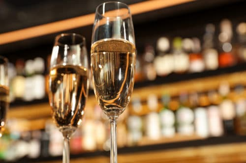Glasses of champagne in bar at the Duluth Playhouse lobby