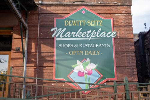 Sign for the Dewitt-Seitz Marketplace in Canal Park Duluth